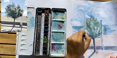 Peindre un arbre à l'aquarelle |