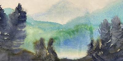 Paysage aux crayons et à l'aquarelle |