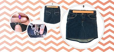 Transformez un vieux jean en jolie jupe |